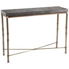 Striking 'Onde' Console Table in Darkened Brass