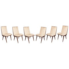 Set of Six French 1950s Chairs in Ivory Leatherette