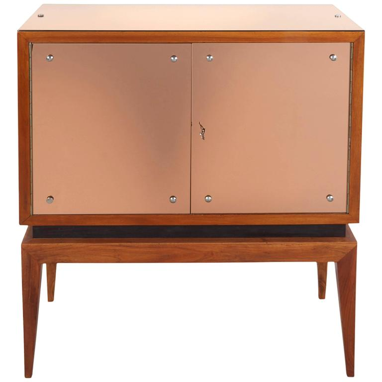 Mid-Century Modern Locking Cabinet with Rose-Tinted Mirrors For Sale