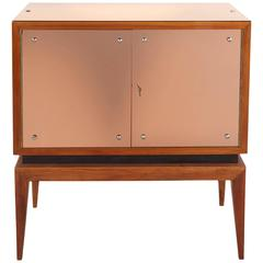 Mid-Century Modern Locking Cabinet with Rose-Tinted Mirrors