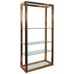Milo Baughman Style 1970s Brass Etagere with Faux Leather Accent