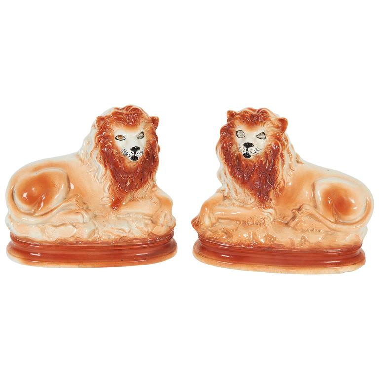 Pair of Staffordshire Ceramic Lions