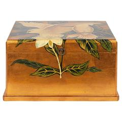 Hand-Painted Gold Leaf Jewelry Box with Cockatoos