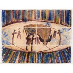 Primitive Abstract Glazed Tile Wall Panel with Bull