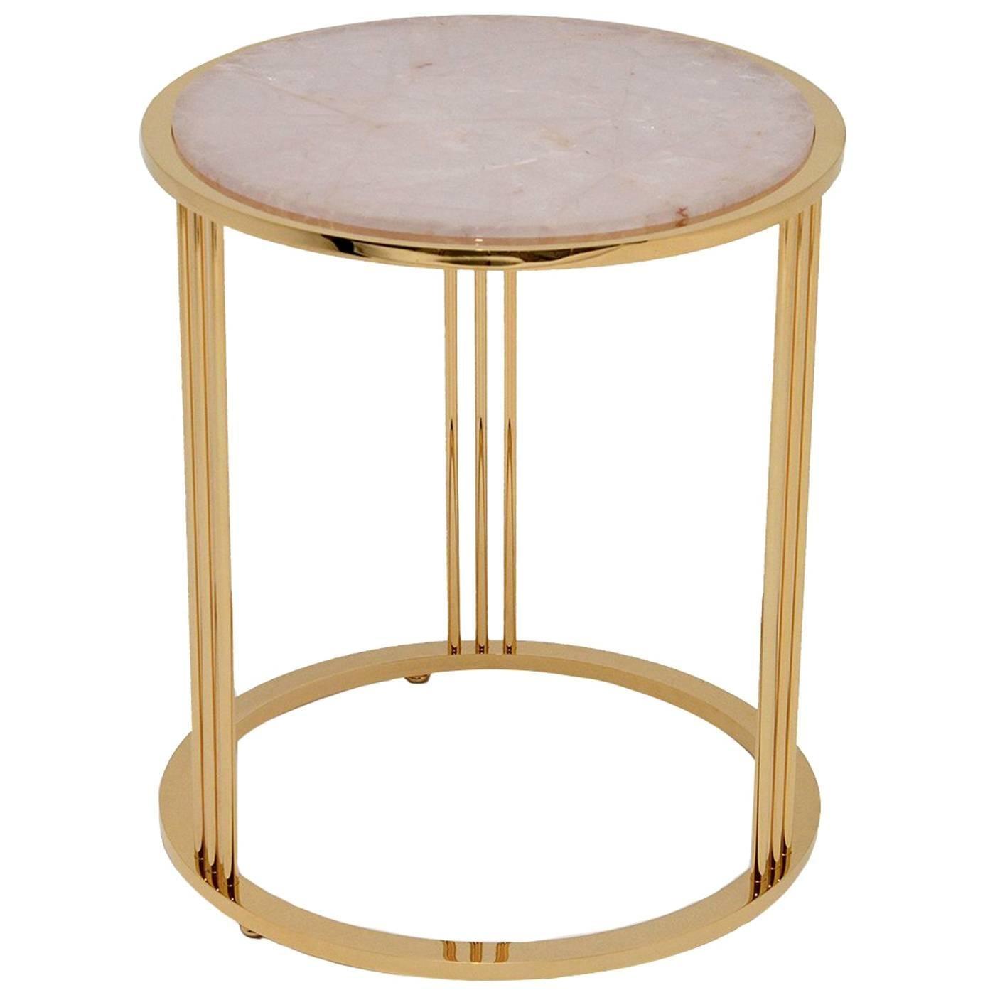 Round Pink Quartz Coffee Table