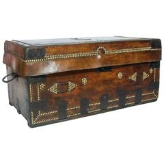 18th Century Napoleonic Leather Campaign Trunk