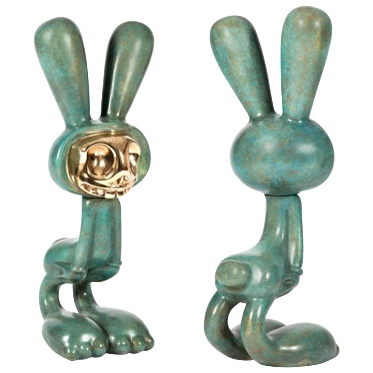 Coniglieschio Bronze Sculpture by Massimo Giacon for Superego Editions, Italy