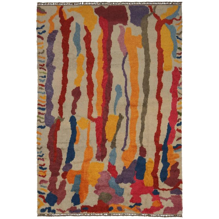 Modern Turkish Tulu Shag Rug with Contemporary Abstract Paint Drip Style For Sale