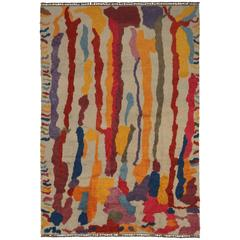 Modern Turkish Tulu Shag Rug with Contemporary Abstract Paint Drip Style
