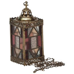 19th Century Brass and Stained Glass Lantern