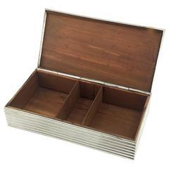 Rare Silver Box with Precious Wooden Ilay by Victor Saglier