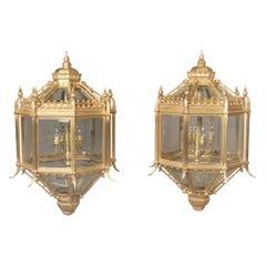 Fine Pair of Late 19th Century Gilt Bronze Five-Light Lanterns