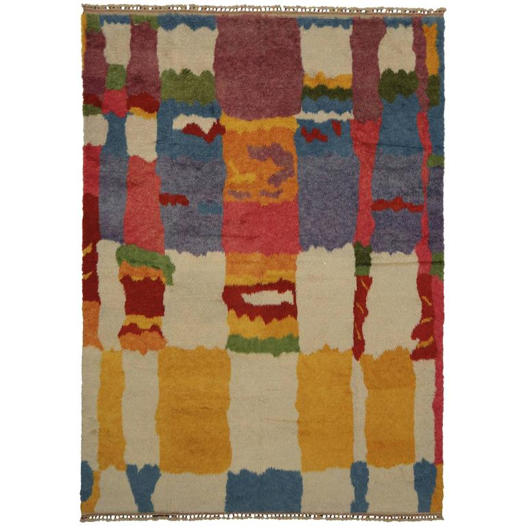 New Colorful Contemporary Abstract Tulu Shag Area Rug For Sale