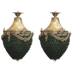 Early 20th Century Pair of Lamps Resembling Bunch of Grapes