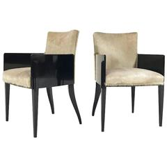 Pair of Art Deco Black Lacquered Armchairs in Brazilian Cowhide