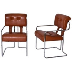 Guido Faleschini Pair of Cognac Leather Tucroma Chairs for Pace Mariani, 1970s