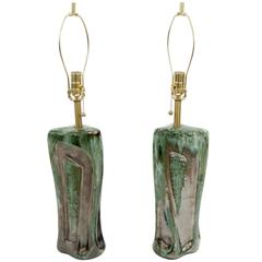 Pair of Green and Graphite Glazed Table Lamps by Kroywen Ceramics