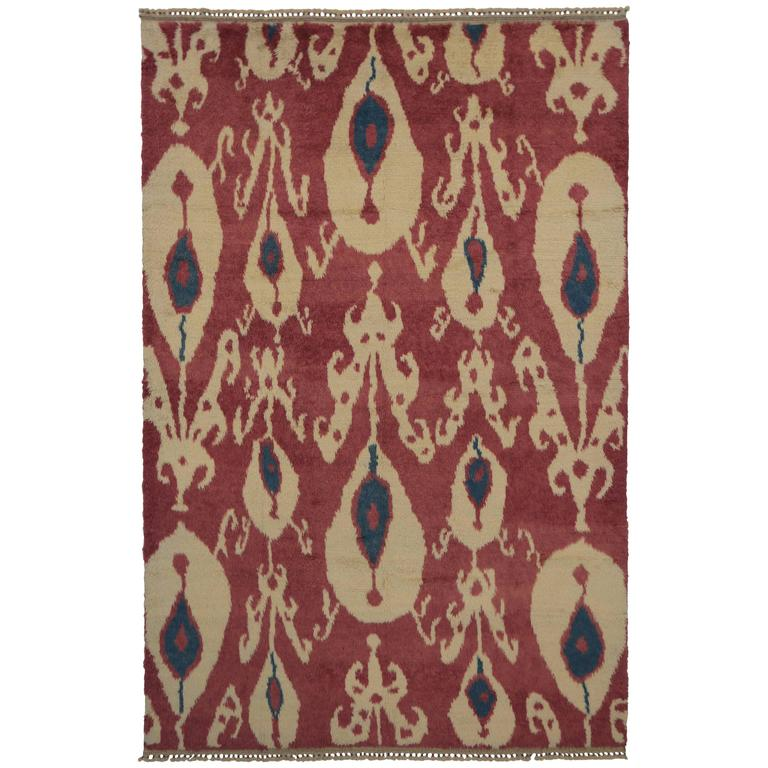 New Turkish Tulu Shag Area Rug with Contemporary Abstract Ikat Pattern For Sale
