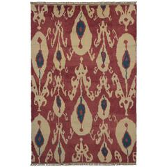 New Turkish Tulu Shag Area Rug with Contemporary Abstract Ikat Pattern