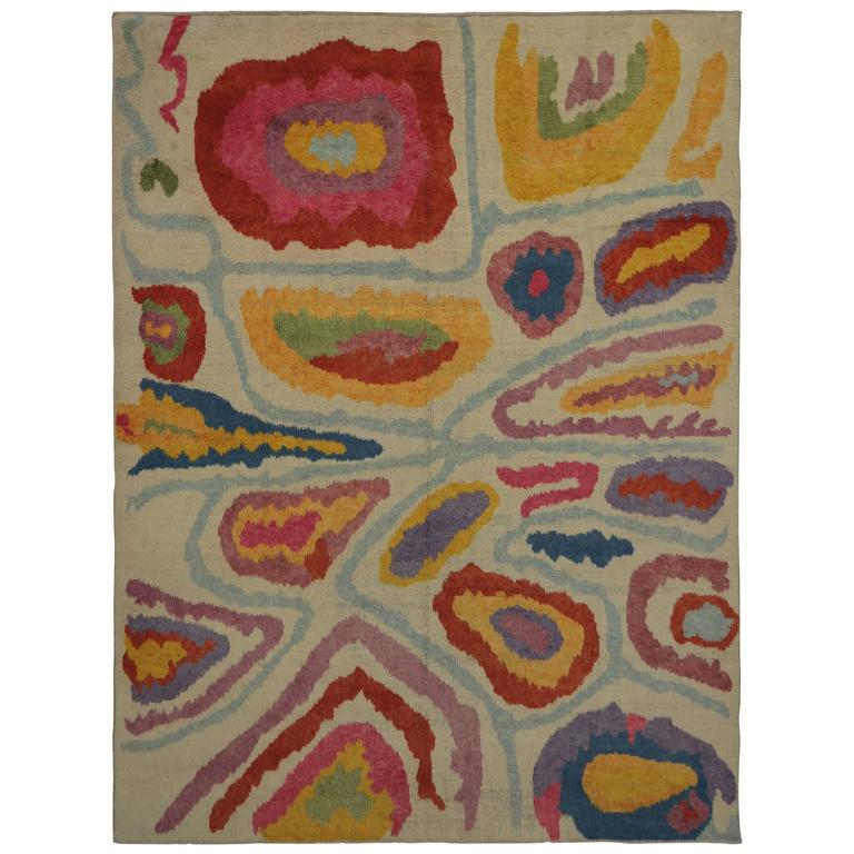 Modern Turkish Tulu Shag Rug with Contemporary Abstract Style