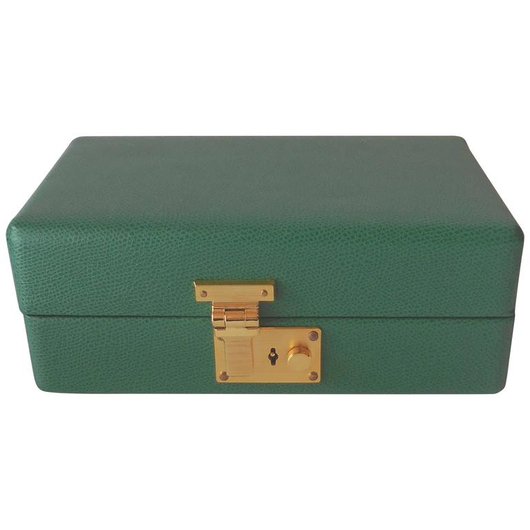 Tanner Krolle Green Leather Jewelry Box London England at 1stdibs