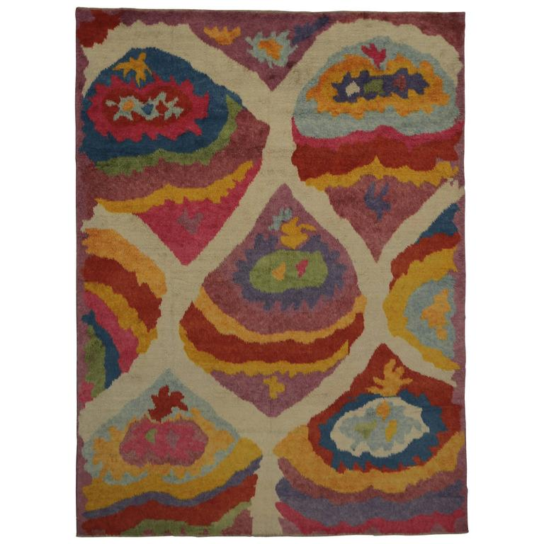 Modern Turkish Tulu Shag Rug with Contemporary Abstract Style For Sale
