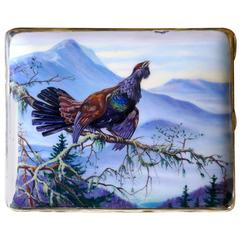 Magnificent Silver and Enamel Wild Game Scene Cigarette Case or Card Case