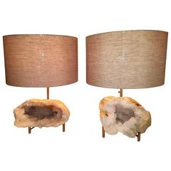 Beautiful Pair of Rock Crystal Geode and Brushed Brass Lamps
