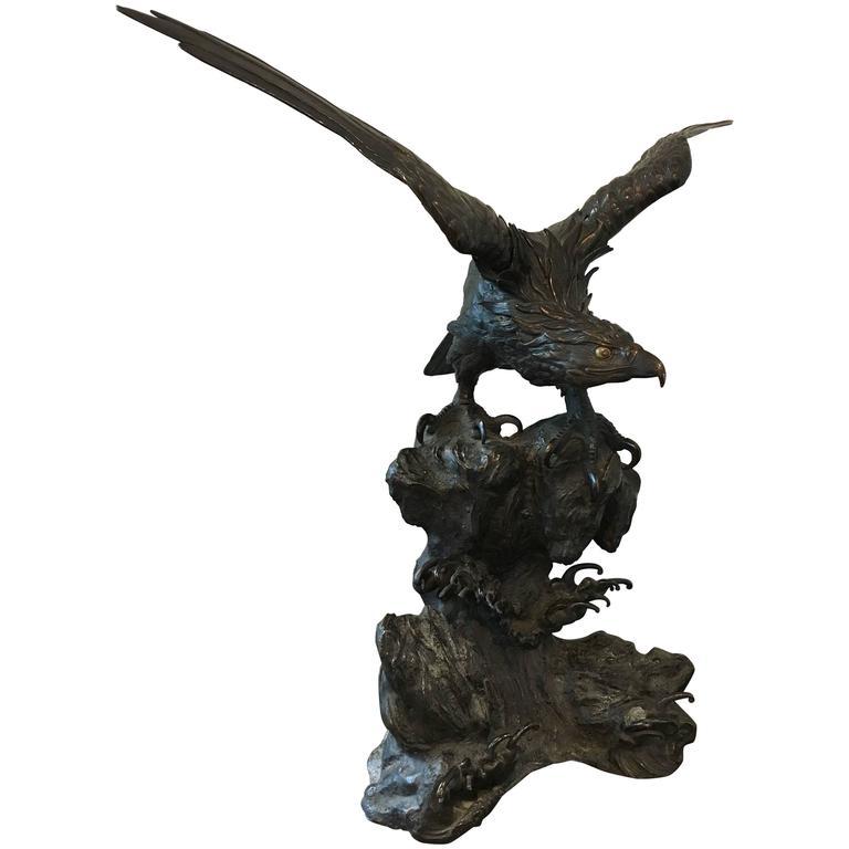 Large Japanese Meiji Period Bronze Eagle