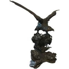 Large Japanese Meiji Period Bronze Eagle