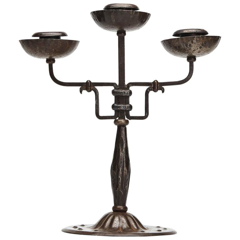 Viennese Secessionist Hugo Berger Candlestick, circa 1900 For Sale