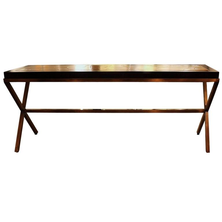 Chic Walnut and Brushed Brass Console Table with Crackled Parchment Top For Sale