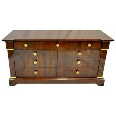 Henredon Nine-Drawer Mahogany Neoclassic Low Chest Buffet