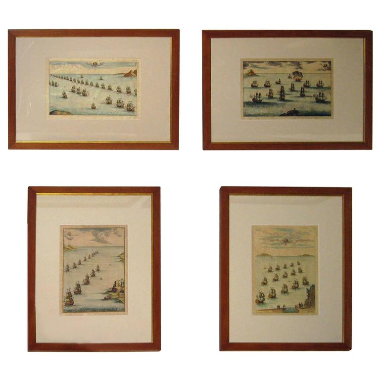 18th Century Set Hand Colored Nautical Etchings