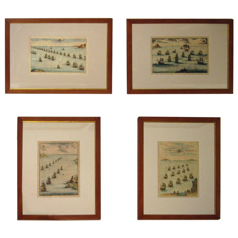 18th century Set Hand Colored Nautical Engravings For Sale
