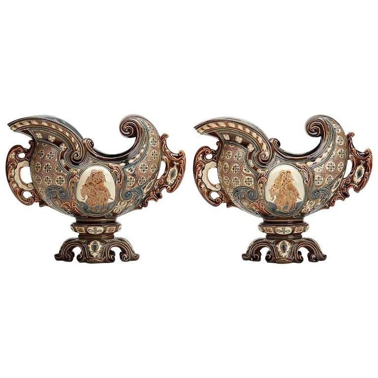 Gerbing & Stephan Majolica Console Bowls, 19th Century