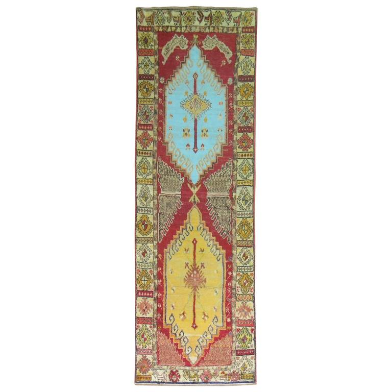 Anatolian Oushak Runner with Electric Blue and Gold Medallions 1