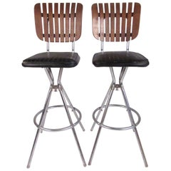 Pair of Mid-Century Modern Slat Back Swivel Bar Stools