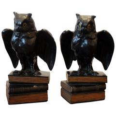 Pair of Bronze Owl Bookends with Glass Eyes, circa 1920