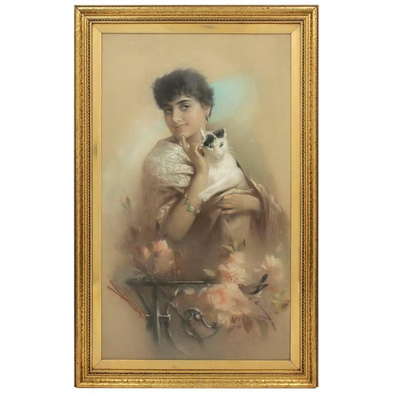 Antique Austrian Artist Heinrich Hans Schlimarski Lady with Cat Painting For Sale