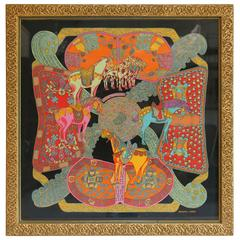 "Hermes ""Art Des Steppes"" Framed Silk Scarf"
