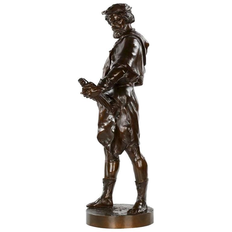"Rare Bronze Sculpture of ""Imagier, 15th Siécle"" after Model by Emile Picault"