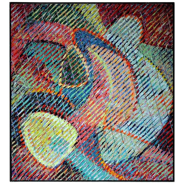 Abstract Modern Oil Painting by Aaron Karp 1983