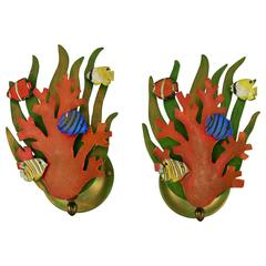 Pair of Fish Swimming Thu Coral Sconces