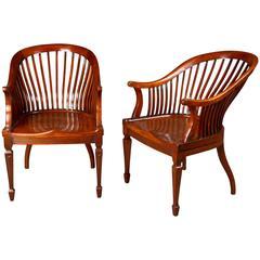 Good Pair of Walnut Club Chairs
