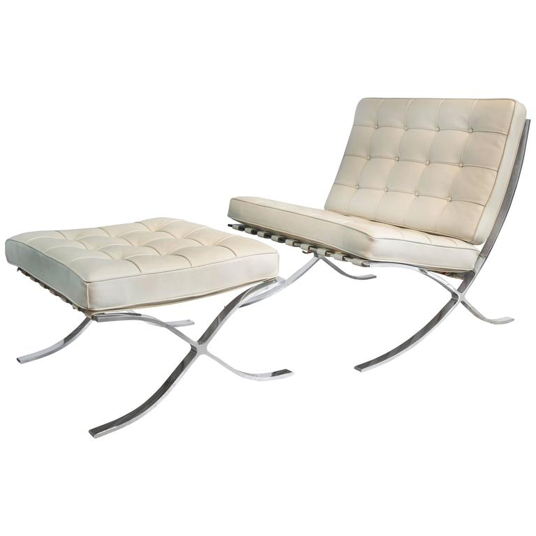 knoll barcelona chair and matching ottoman in ivory leather at 1stdibs. Black Bedroom Furniture Sets. Home Design Ideas