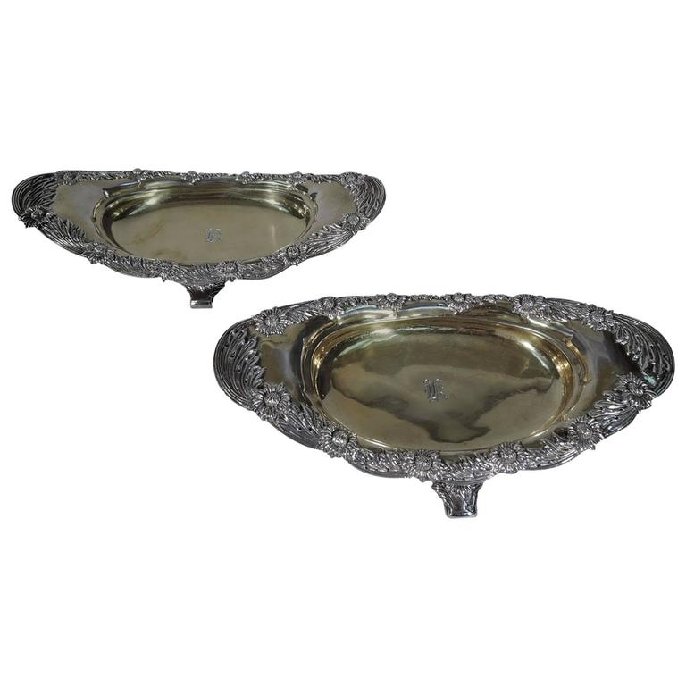 Pair of Antique Tiffany Chrysanthemum Sterling Silver Footed Bowls