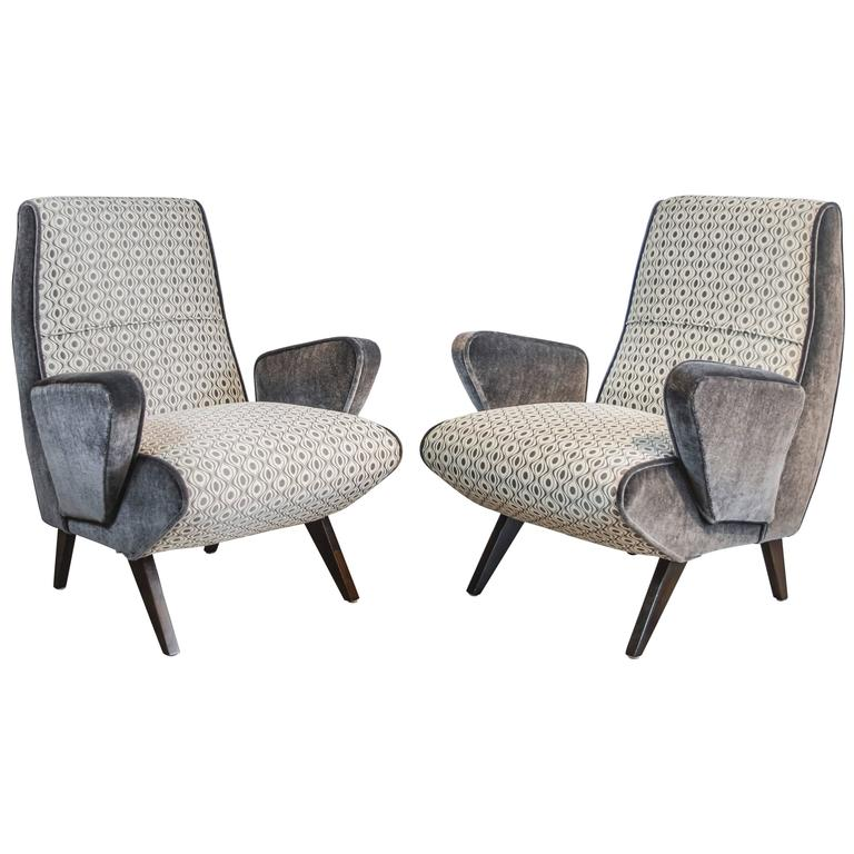 Mid-Century Italian Armchairs with Mohair and Geometric Fabric