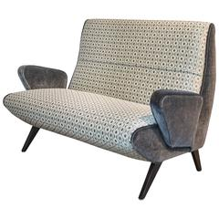 Mid-Century Italian Settee with Mohair and Geometric Fabric