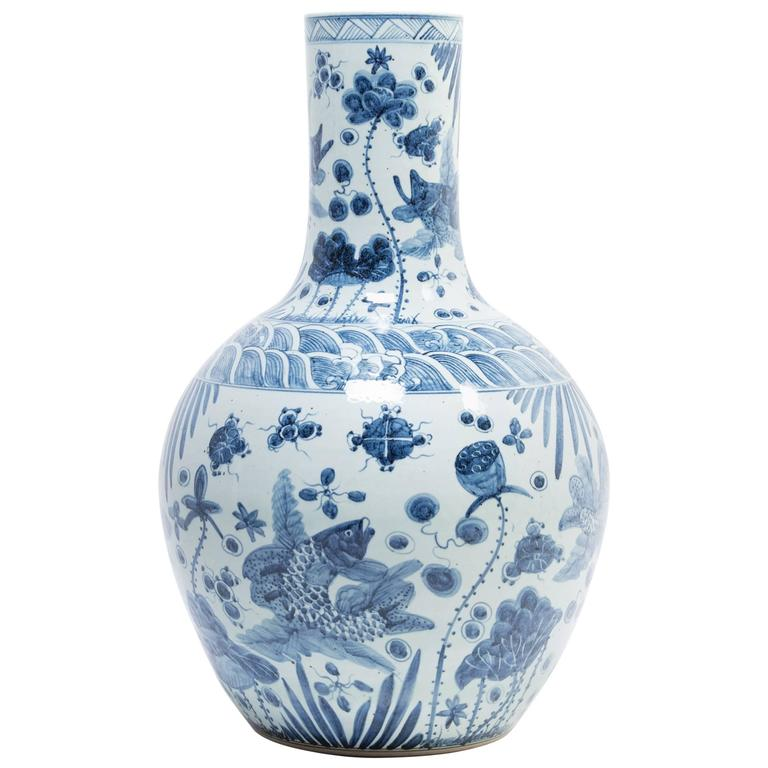 Chinese Monumental Blue and White Koi Bottleneck Jar